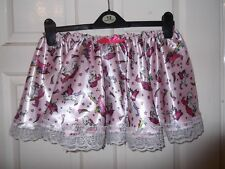 ADULT BABY~SISSY~MAIDS~UNISEX~TV/CD PINK SATIN & LACE UNICORNS MINI SKIRT