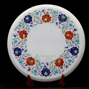 "15"" Marble Table top handmade floral inlay semi precious stone Work Art"