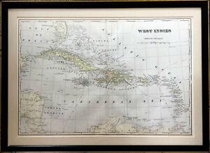 ANTIQUE WEST INDIES CUBA PORTO RICO CARIBBEAN LATIN AMERICA MAP GEORGE F CRAM