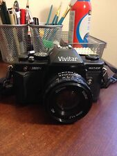 Vivitar V3800N 35mm SLR Film Camera w/ 50mm Lens Kit, manual, case, and strap