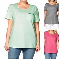 Sheego plus size 22 24 Cotton Jersey Top Short Sleeve Sequin Pocket Pink or Grey