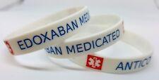 2x EDOXABAN medicated Medical Alert Wristband bracelet silicone anticoagulant