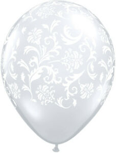 """10 pc- 11"""" Clear & White Damask Latex Balloons Happy Birthday Party Wedding Baby"""