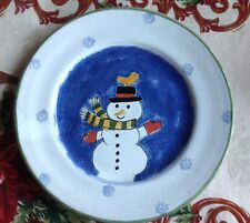 "MESA INTERNATIONAL 9"" SNOWMAN & Yellow Bird POTTERY PLATE SIGNED"
