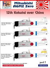 h-model decalcomanie 1/48 Mitsubishi A6M2 12° Kokutai SOPRA CINA #48054