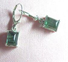 Green Tourmaline  Sterling Silver Dangle Lever back Earrings skaiJN17