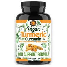 Turmeric Curcumin Vegan w. Black Pepper Natural Antioxidant Angry Supplements