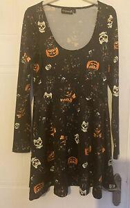 Sourpuss Halloween Cats Pumpkin Skater Dress Goth - Please Read Description