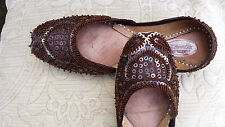 BROWN LADIES INDIAN WEDDING     LEATHER        KHUSSA SHOE SIZE 6
