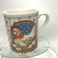 """Vintage Farmer Chicken Lays Eggs Coffee Mug 3"""" Tall Excellent Condition Cup C13"""
