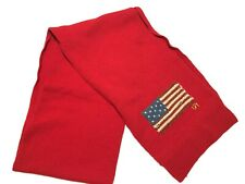 Lauren Ralph Lauren USA Flag Scarf Red Merino Wool Blend American Flag