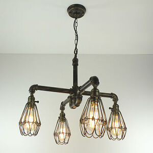 Industrial Steampunk Light Water Pipe Edison Ceiling Cage Chain ON/OFF Switch