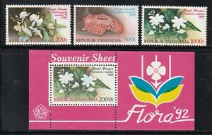 Indonesia 1512-1515 1992 Native Flowers Stamp Set + Souvenir Sheet