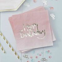 Gold Foiled Pink Ombre Happy Birthday Napkins