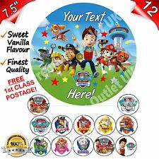"Paw Patrol Cake Topper Edible Decoration Personalised 7.5"" & cupcake toppers"