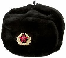 Authentic Russian Ushanka Military Hat Black w/ Soviet Red Army Badge