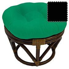 International Caravan Bali Rattan Papasan Footstool Ottoman-black