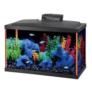 10 Gal Aquarium Full Kit Acrylic Contoured Fish Tank LED Light Filter Cartridge