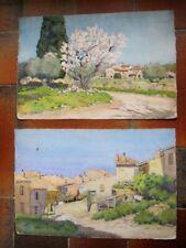 Louis Weger Marseille PAIRE Aquarelles Provence Marine et Paysage 56X38cm