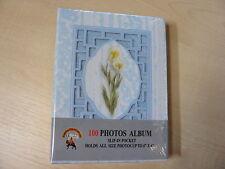 azul y blanco floral álbum de fotos - 100 - DESLIZABLE Bolsillos - 10.2x15.2cm -