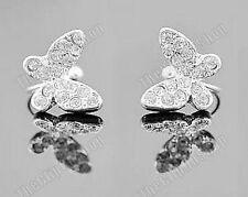 U CLIP ON silver BUTTERFLY rhinestone CRYSTAL EARRINGS fake studs non-pierced
