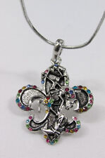 Cute Women Silver Fashion Necklace Rodeo Horse Western Boots Bling Flower Stones