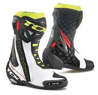 STIVALI BOOTS MOTO RACING SPORT TCX RT-RACE WHITE RED YELLOW FLUO TORSION TG 45