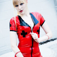 Latex Catsuit Nurse Dress With Front Zip Sexy Cosplay Party Cool Customized .4mm
