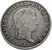 1837 Austria Emperor FERDINAND I Antique Silver Coin 20 Kreuzer Eagle i75030