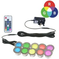 SET OF 10 - 45mm RGB PATIO DECK PLINTH LIGHTS IP67 LED REMOTE COLOUR CHANGING