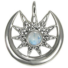 Sterling Silver Celtic Knot Sun Burst and Crescent Moon with Rainbow Moonstone