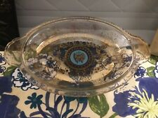 Georges Briard Oval Glass Casserole Shallow Bowl Butterfly 2 vintage mid century