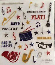New Band Instrument Drum Tuba Horn Flute Scrapbook Stickers