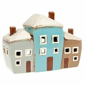 Ceramic Three House Village Pottery Country Cottage Ornament Tea Light Holder