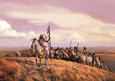 Native American Indian Warrior War Party Horse Landscape Canvas Print Large