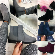 New Womens Ladies Ankle Chelsea Boots Zipped Suedette Casual Flat Shoes Size 3-8