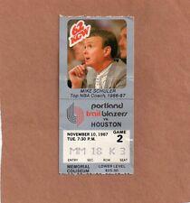 1987 Portland Trail Blazers vs. Houston Rockets Ticket Stub