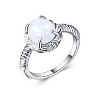 Gorgeous Women Wedding Ring for Women 925 Silver Filled Opal Birthstone Size6-10