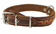 "High Quality Braided Leather Dog Collar 1"" wide 14""-18"" neck"