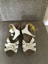Fly London Leather White Leather Wedge Sandals Size 38 Uk 5
