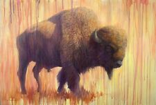 CONTEMPORARY WESTERN BUFFALO BISON WATERCOLOR EFFECT 13X19 PRINT BY LEE CASBEER