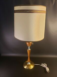 MCM Teak with Brass accents Table Lamp With Original Shade