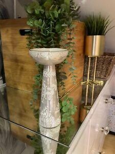 John Lewis Stoneware Anthropologie Tall Candlestick Holder Taupe H23cm