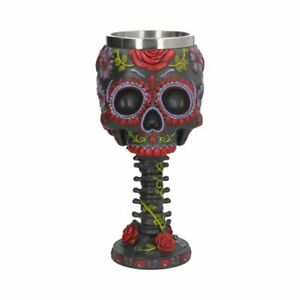 """Funky """"Sugar Blooms Goblet"""" Steampunk Ornamental 18cms Day Of The Dead"""