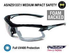 UV Wraps Foam Backed AS/NZ1337 Clear Safety Glasses PO8256