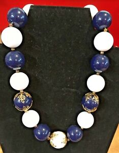 """17"""" LARGE ROUND BEAD NECKLACE NAVY/WHITE/GOLD"""