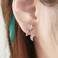 New Women Elegant Crystal Rhinestone Earrings Charm Moon Star Ear Stud Earrings