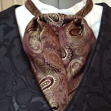 PUFF TIE GENTLEMAN MANS CRAVAT BROWN GOLD PAISLEY PRINT STEAMPUNK OLD WEST SASS
