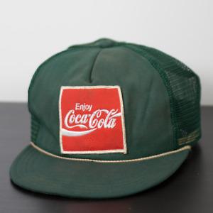 Vintage Coca Cola Unitog Coke Logo Mesh Snapback Trucker Hat VTG Retro