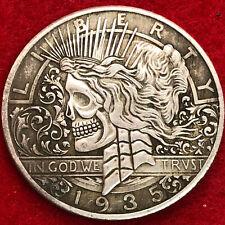 Very large tibetan silver skull dollar Art coin